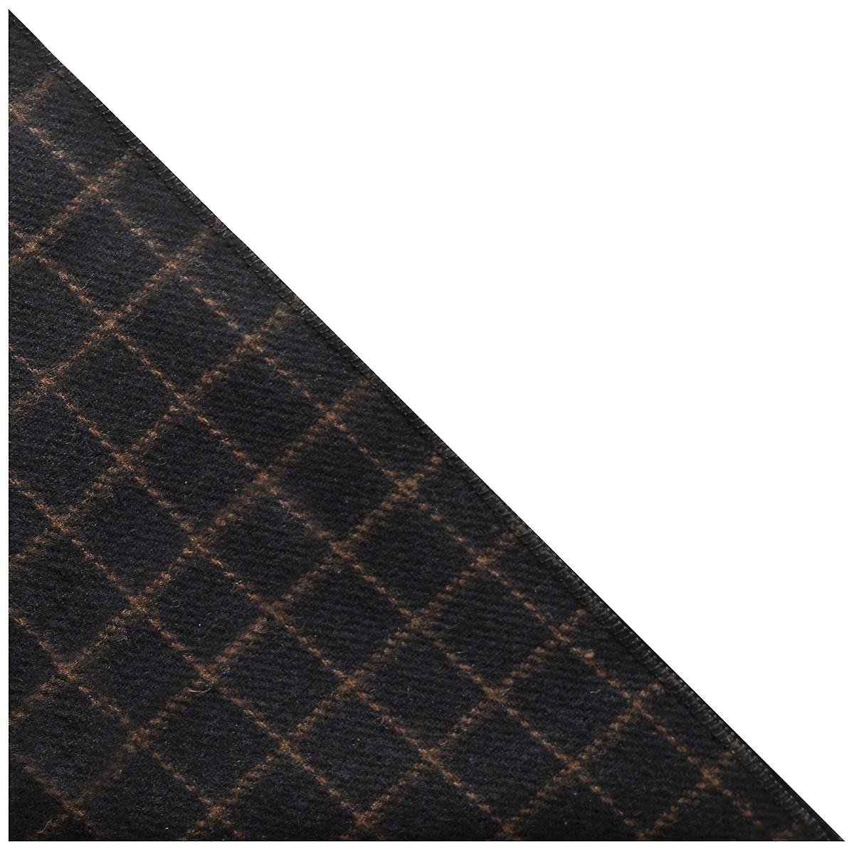 Luxury Oxford Blue Tattersall Check Tweed Pocket Square, Handkerchief