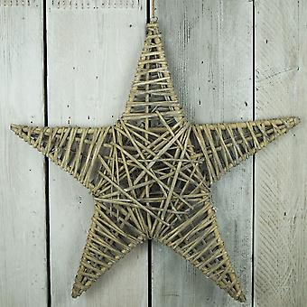 Light Woven Willow Star Decoration