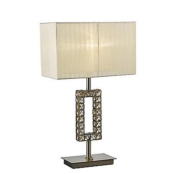 Diyas Florence Rectangle Table Lamp With Cream Shade 1 Light Antique Brass/Crystal