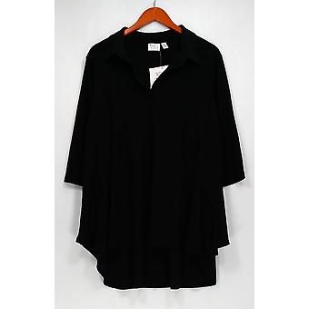 Women with Control Petite Top Crepe Jersey Tunic Black A290084