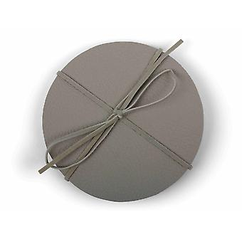Glass coaster grey leather 4-pack