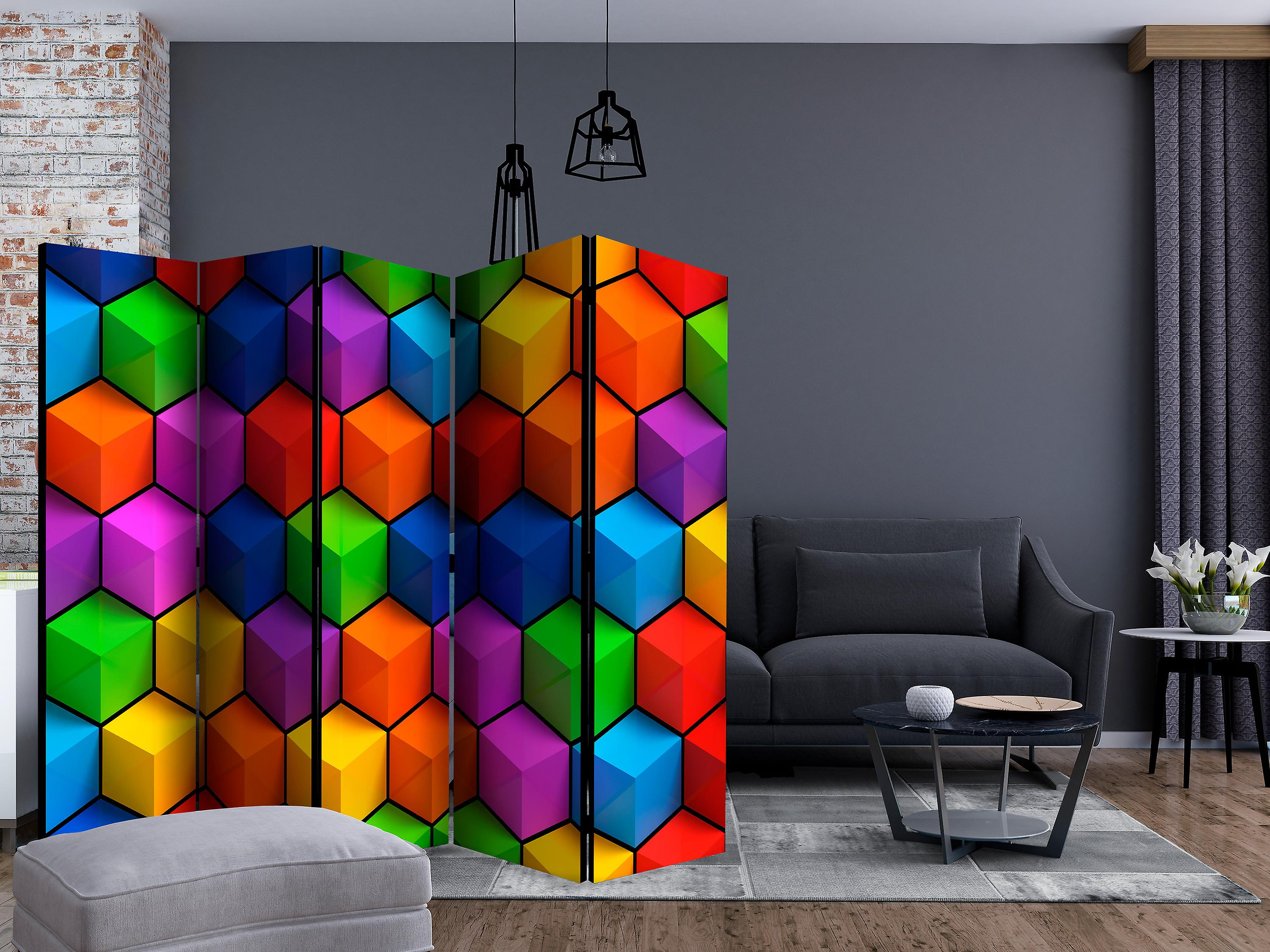 Paravent 5 volets - Colorful Geometric Boxes [Room Dividers]