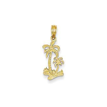 14k Jaune Or Jaune Gold Flat Solid Solid Texté Dos Double Palm Trees Pendant Necklace Mesures 22.8x9mm Bijoux Cadeaux pour