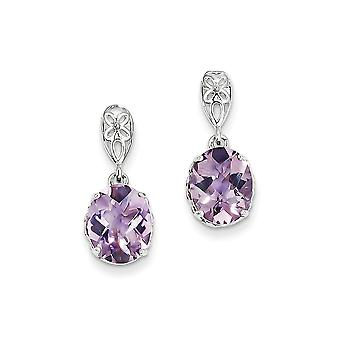 925 Sterling Argento Dangle lucidato Post Orecchini Rhodium placcato Orecchini di Quartz rosa - 4.36 cwt