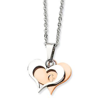 Acero inoxidable IP rosa plateado lujo langosta cierre pulido y rosa oro corazón colgante collar - 22 pulgadas