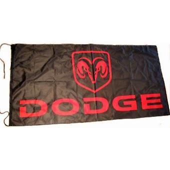 Dodge flagga svart landskap 1500mm x 900mm (av)
