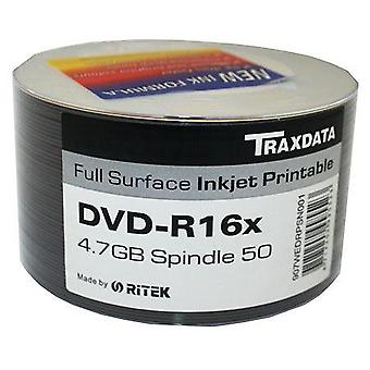 Dischi DVD-R 16 X TRAXDATA FF Inkjet Printable vuoto DVDR - mandrino/vasca 50 = 100 Ritek DVD