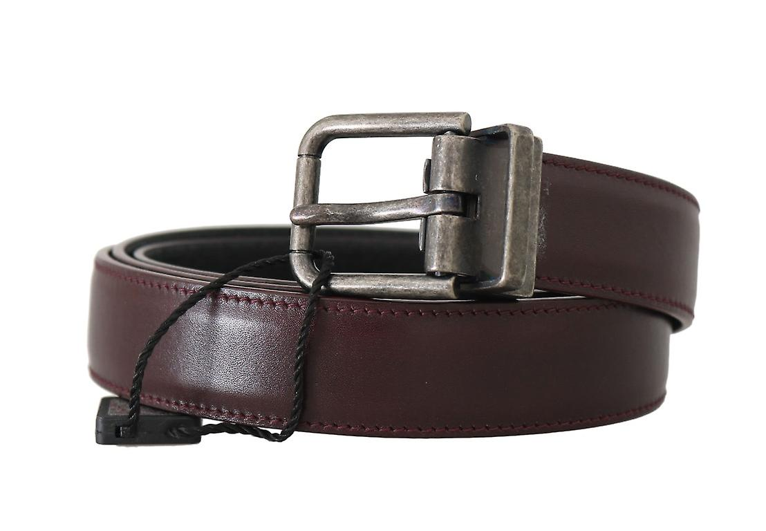 Bordeaux Leather Gray Brushed Buckle Belt