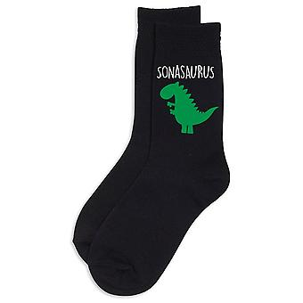 Boys Son Dinosaur Sonasaurus Black Socks