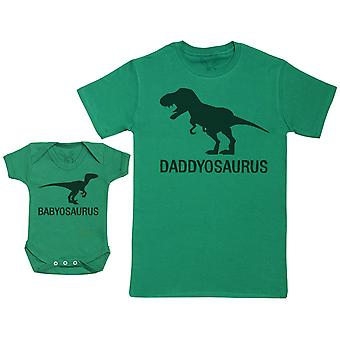 Babyosaurus with Daddyosaurus - Baby Gift Set with Baby Bodysuit & Father's T-Shirt