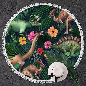 פרחים טרופיים ומגבת חוף הדינוזאורים