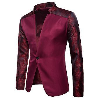 Allthemen Uomini's Blazer Stand Collar Spliced Casual Suit Giacca