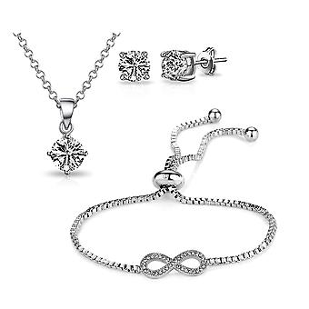Silver infinity friendship set created with swarovski® crystals