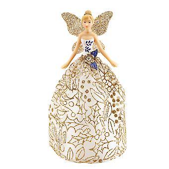 18.5 cm Gisela Graham blauw, Wit & goud glitter Fairy Kerstboom Topper
