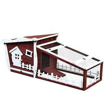 Pawhut Rabbit Hutch Bunny Cage Wood Small Animal House w/ Ramp and Outdoor Run