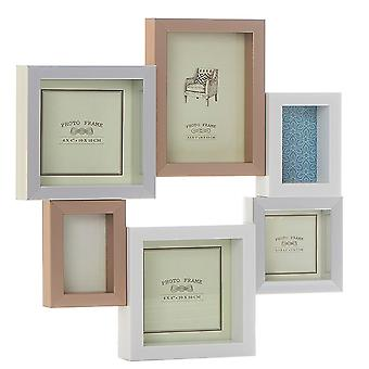 Shudehill Giftware Pastel Metalic Multi 6 Picture Photo Frame