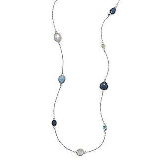 29 Inch 925 Sterling Silver Halsband Larimar Blue Topaz Färgade Aquamarine Rainbow Himmelsk Moonstone Smycken Gåvor för Wo