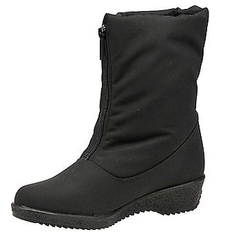 Toe Warmers Womens Jennifer Fabric Round Toe Mid-Calf Cold Weather Boots