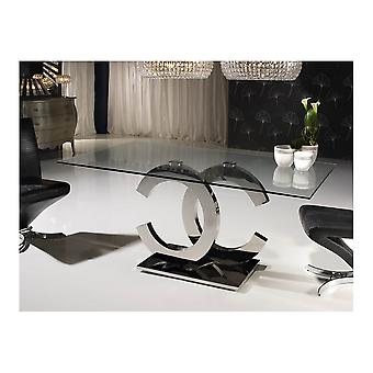 Schuller Calima Stainless Steel And Glass Dining Table, 180x76x90cm