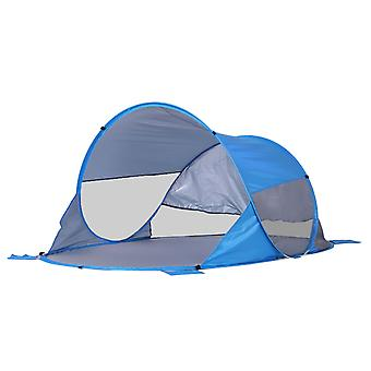 Outsunny 2-3 Person Pop up Beach Tent Hiking UV Protection Patio Sun Shade Shelter Portable Automatic - Blue