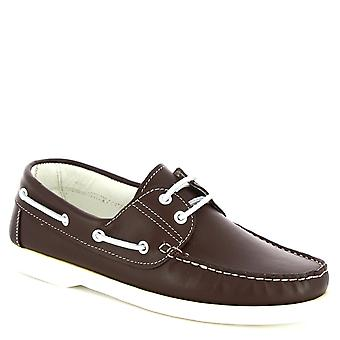Leonardo Shoes Men's handmade driving loafers in dark brown calf leather