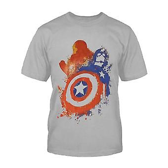 Official Kids Captain America T Shirt Superhero Civil War Iron Man new Grey