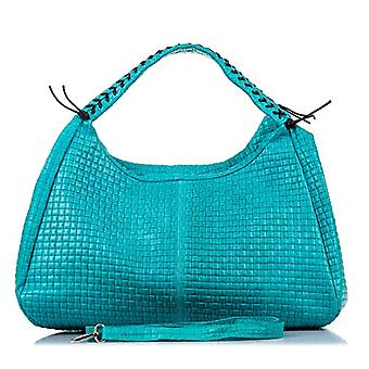 FIRENZE ARTEGIANI. Real leather woman bag. Authentic geometric braided leather bag. Large exclusive design bag. Shoulder handle. MADE IN ITALY. REAL PELLE ITALIANA.42x27x26cm. Color: turquesa