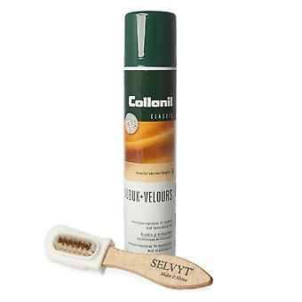 Collonil Nubuk + Velours Spray and Selvyt Brass Combi Brush Duo
