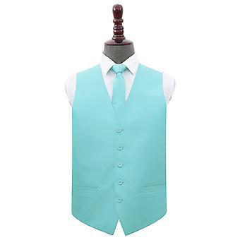 Tiffany green Plain Shantung Hochzeit Weste & Krawatte nise Set