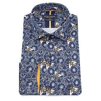 Guide London Bee On Flower Print Pure Cotton Long Sleeve Men's Shirt En's Shirt