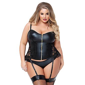 Womens Plus Size Shiny Wet Look Lace Side Zip Up Bustier Lingerie