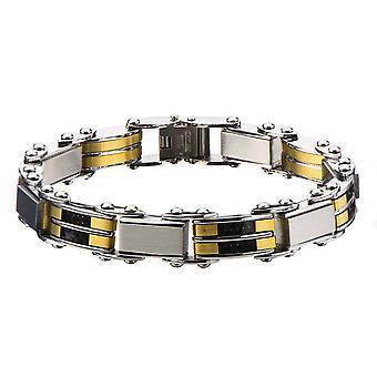 Men's Stainless Steel Black Gold IP Reversible Bracelet