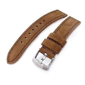 Strapcode leather watch strap 20mm, 21mm miltat dark brown nubuck leather watch band, brown stitching