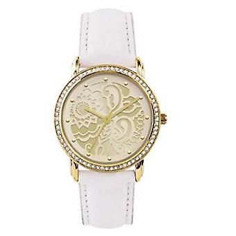 Monsoon Ladies Floral Design Dial, Crystal Bezel, Cream Strap Watch MO2000