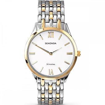 Sekonda Mens Ronde Witte Wijzerplaat 2 Kleuren armband Horloge 3449
