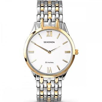 Sekonda Mens Round White Dial 2 Colour Bracelet Watch 3449