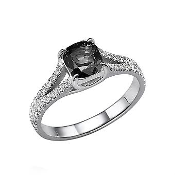 14K White Gold 1.70 CTW Black Diamond Ring with Diamonds Split Shank Cushion With Accents