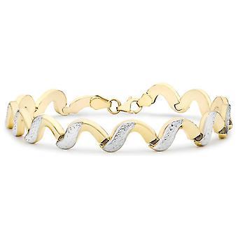 KJ Beckett Diamond Cut Wave länkarmband - gul Guld/Silver