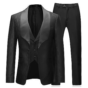 Allthemen Men's Tuxedo Suit 3-Pieces Slim Fit Wedding Dress Blazer&Vest&Pants