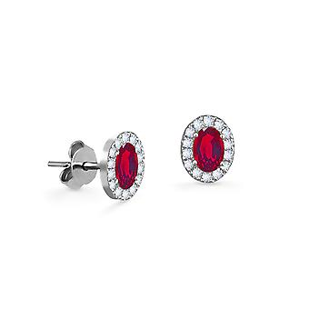 Earrings Princess 18K Gold and Diamonds with Ruby | Emerald | Sapphire - White Gold, Ruby