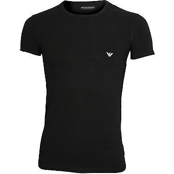 Emporio Armani Big Eagle Stretch Baumwolle Crew-Neck T-Shirt, schwarz