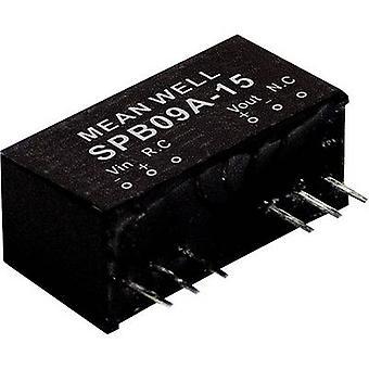 Mean Well SPB09A-15 DC/DC-konverter (modul) 600 mA 9 W Nr. af udgange: 1 x