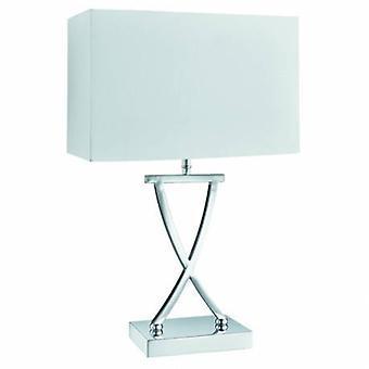 1 lámpara de mesa ligera cromo con sombra blanca