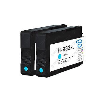 2 Go-inkten Cyaan compatibele printerinktcartridges ter vervanging van HP 933C (XL-capaciteit) Compatibel / niet-OEM voor HP Officejet-printers