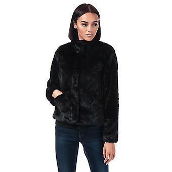 Frauen's Nur Vida Faux Pelz Jacke in schwarz