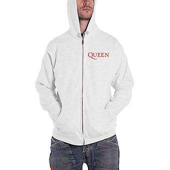 Queen Hoodie Classic Crest Band Logo new Official Womens White Zipped