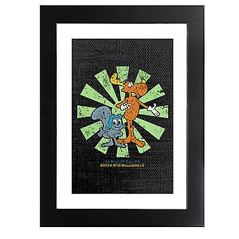 Rocky And Bullwinkle Retro Japanese Framed Print