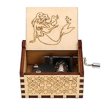 Den lilla sjöjungfrun Ariel Hand Crank Trä 18 Toner Music Box