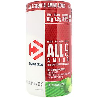 Dymatize Nutrition, ALL9AMINO, Jolly Green Apple, 15,87 oz (450 g)