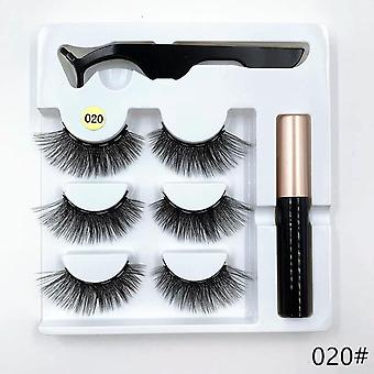 3-pairs Magnetic-eyelash Sets, Magnetic Eyeliner, Magnetic Tweezers And False